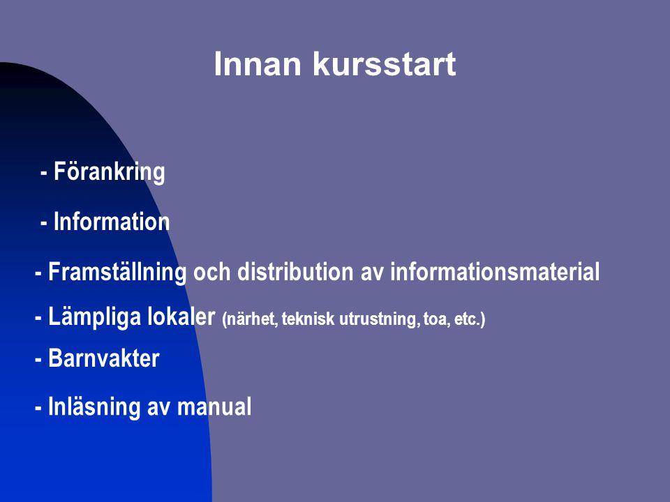Innan kursstart - Inläsning av manual - Förankring - Information - Framställning och distribution av informationsmaterial - Barnvakter - Lämpliga loka