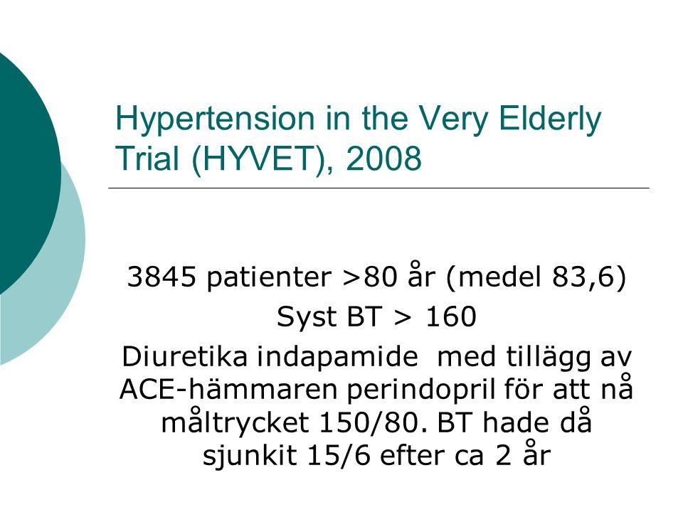Pravastatin in elderly individuals at risk of vascular disease (PROSPER), 2002  Patienter med vaskulär sjd eller risk för sådan (rök, BT eller DM)  70-82 år, totalkolesterol 4–9 mmol/l  5804 män och kvinnor fick pravastatin 40 mg eller placebo under drygt 3 år.