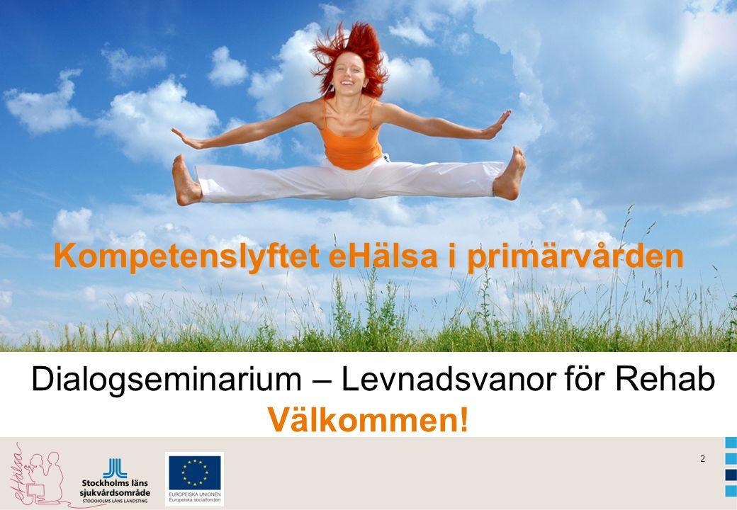 2 Kompetenslyftet eHälsa i primärvården Kompetenslyftet eHälsa i primärvården Dialogseminarium – Levnadsvanor för Rehab Välkommen!