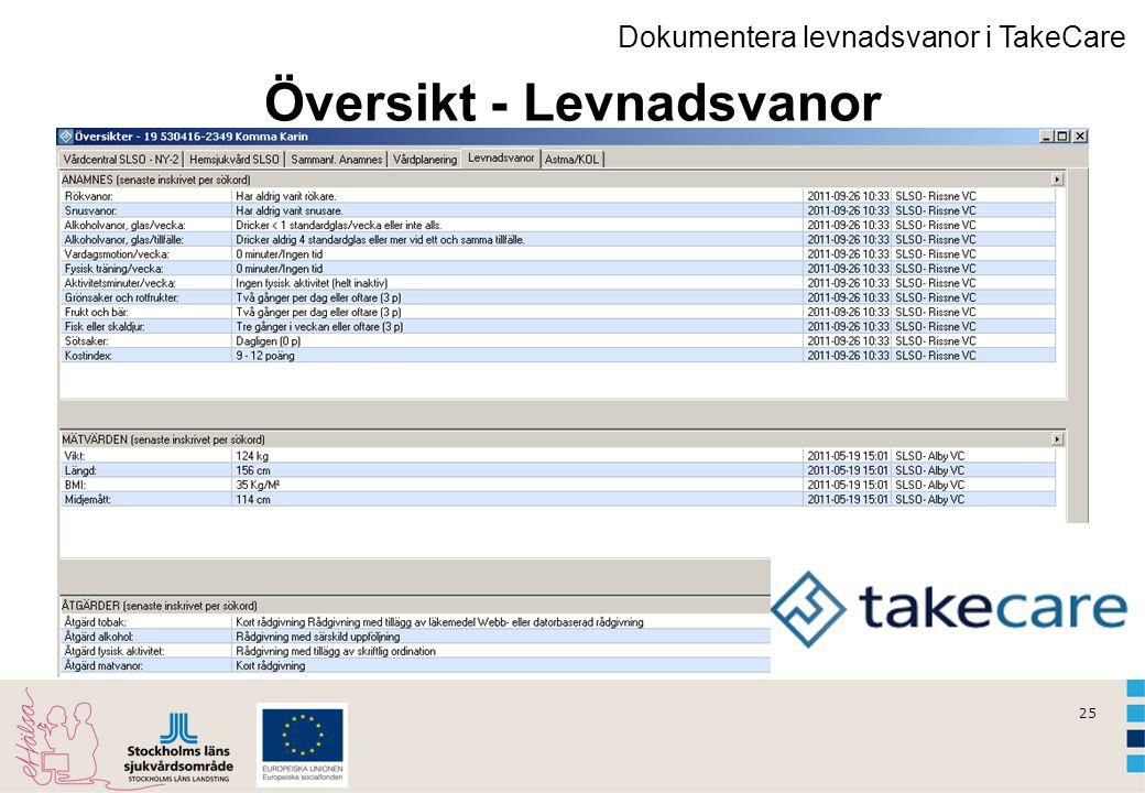 25 Dokumentera levnadsvanor i TakeCare Översikt - Levnadsvanor