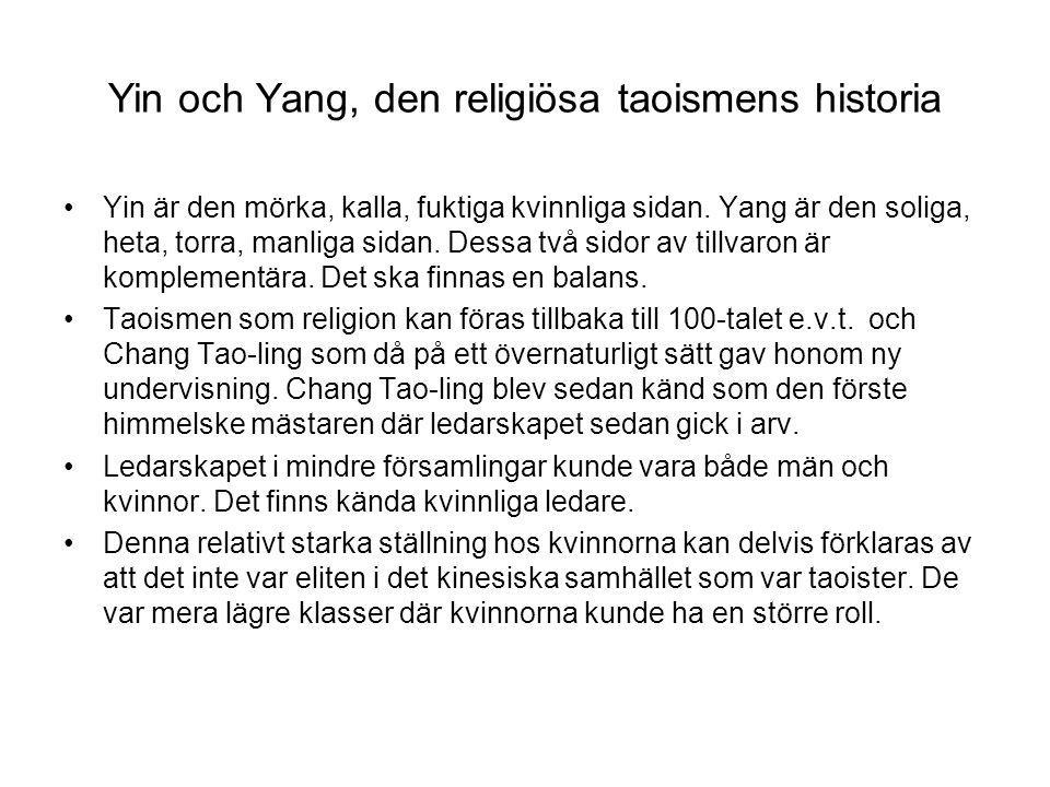 Yin och Yang, den religiösa taoismens historia Yin är den mörka, kalla, fuktiga kvinnliga sidan. Yang är den soliga, heta, torra, manliga sidan. Dessa