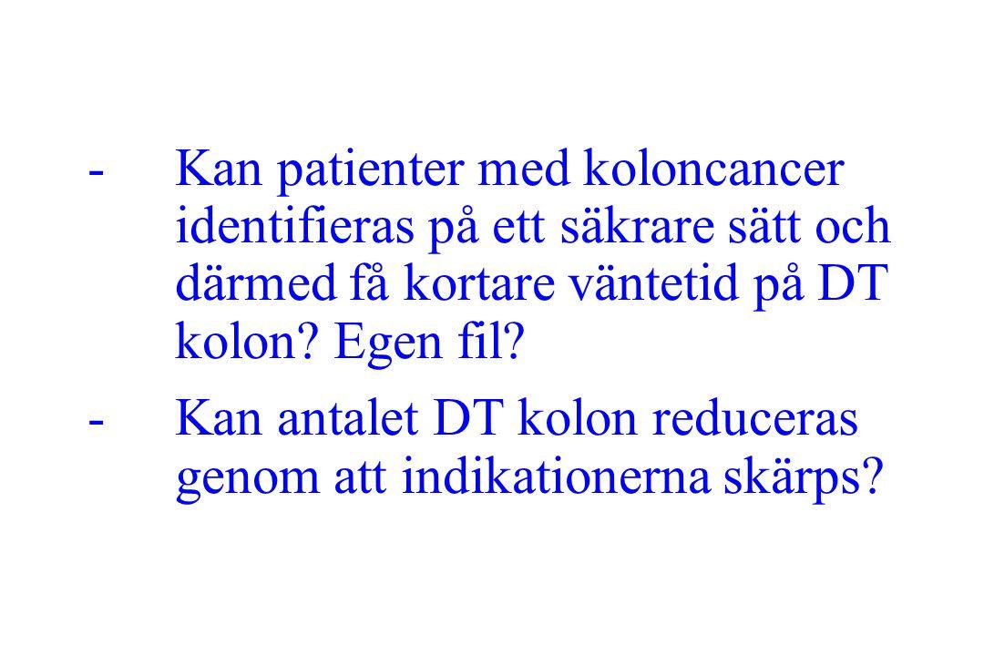 - -Kan patienter med koloncancer identifieras på ett säkrare sätt och därmed få kortare väntetid på DT kolon? Egen fil? - -Kan antalet DT kolon reduce