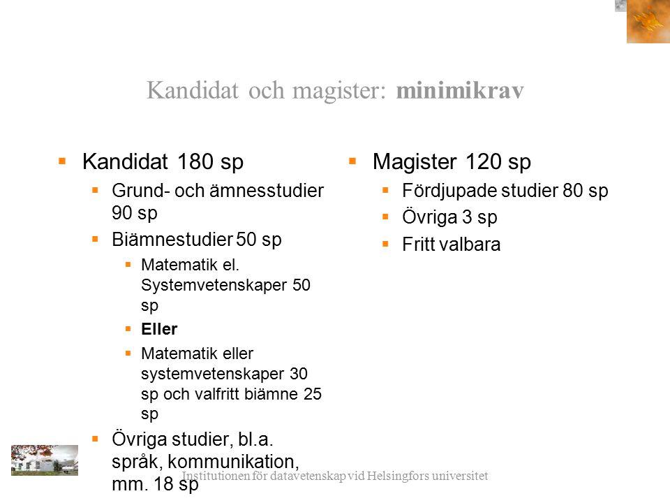 Institutionen för datavetenskap vid Helsingfors universitet Kandidat och magister: minimikrav  Kandidat 180 sp  Grund- och ämnesstudier 90 sp  Biämnestudier 50 sp  Matematik el.