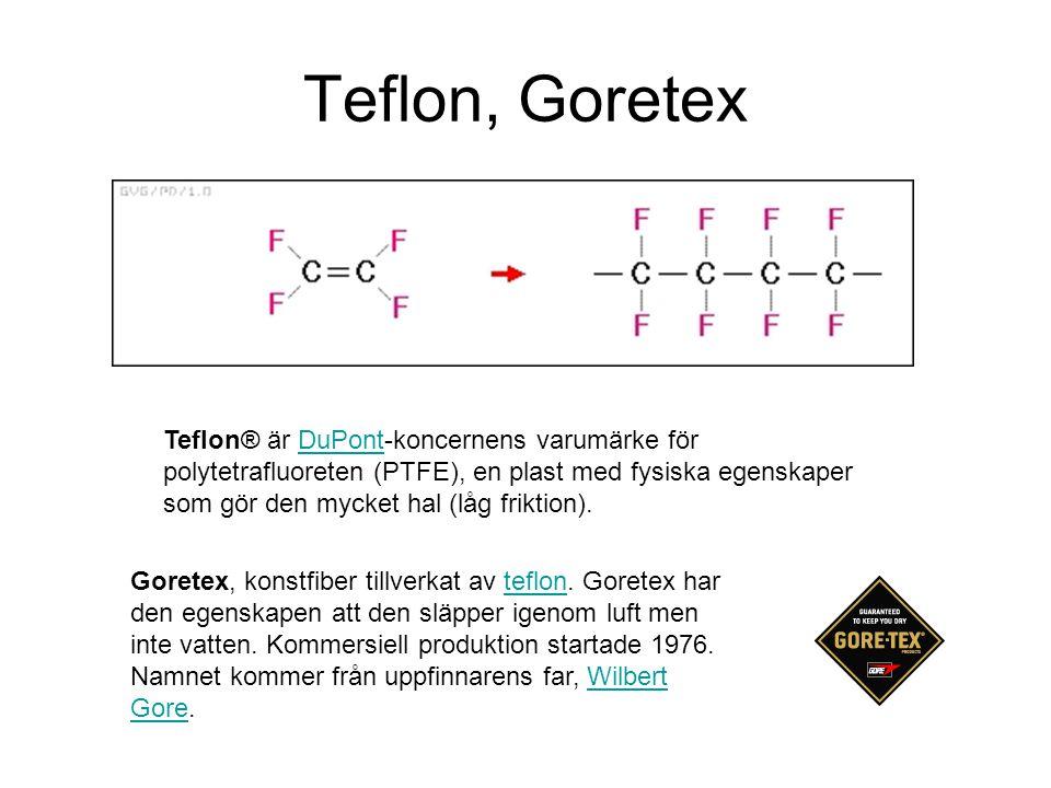 Teflon, Goretex Teflon® är DuPont-koncernens varumärke för polytetrafluoreten (PTFE), en plast med fysiska egenskaper som gör den mycket hal (låg friktion).DuPont Goretex, konstfiber tillverkat av teflon.
