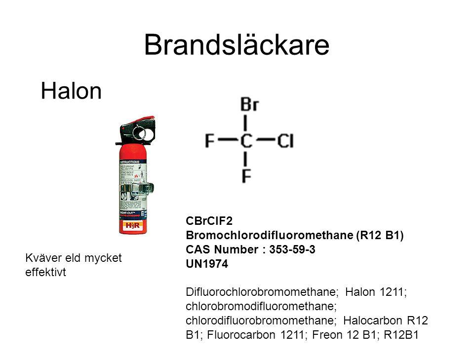 Brandsläckare Halon CBrClF2 Bromochlorodifluoromethane (R12 B1) CAS Number : 353-59-3 UN1974 Difluorochlorobromomethane; Halon 1211; chlorobromodifluo
