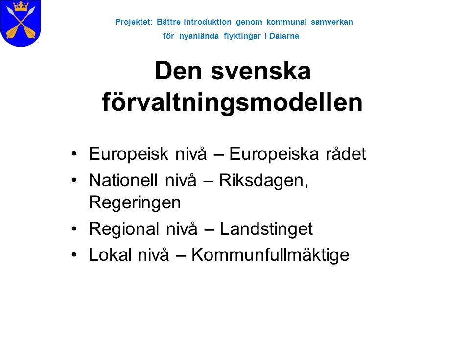 Projektet: Bättre introduktion genom kommunal samverkan för nyanlända flyktingar i Dalarna Den svenska förvaltningsmodellen Europeisk nivå – Europeisk