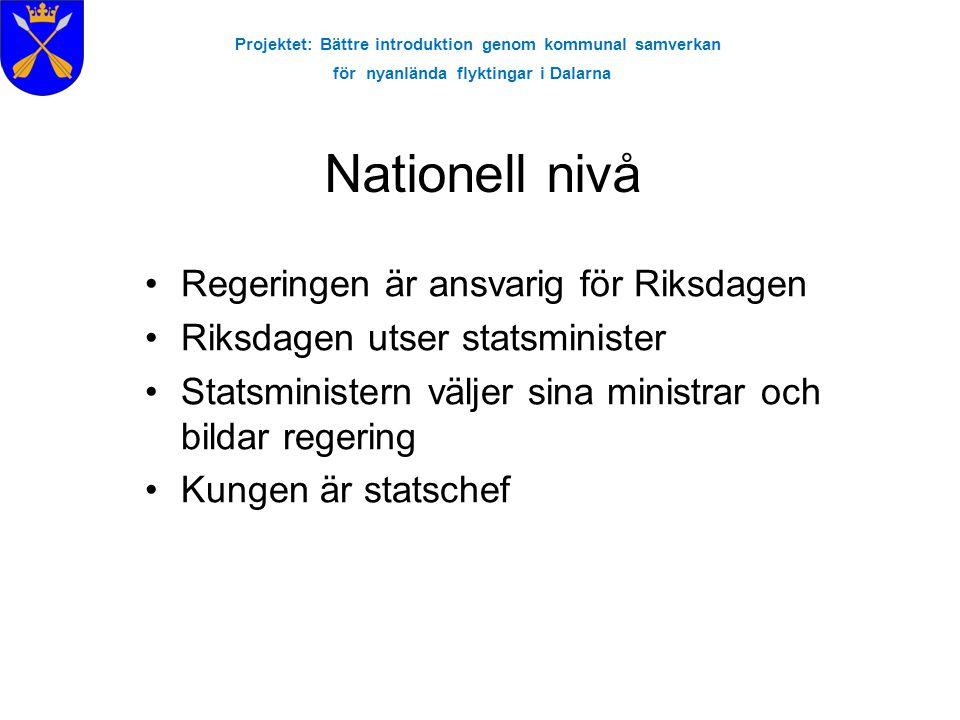 Projektet: Bättre introduktion genom kommunal samverkan för nyanlända flyktingar i Dalarna Nationell nivå Regeringen är ansvarig för Riksdagen Riksdag