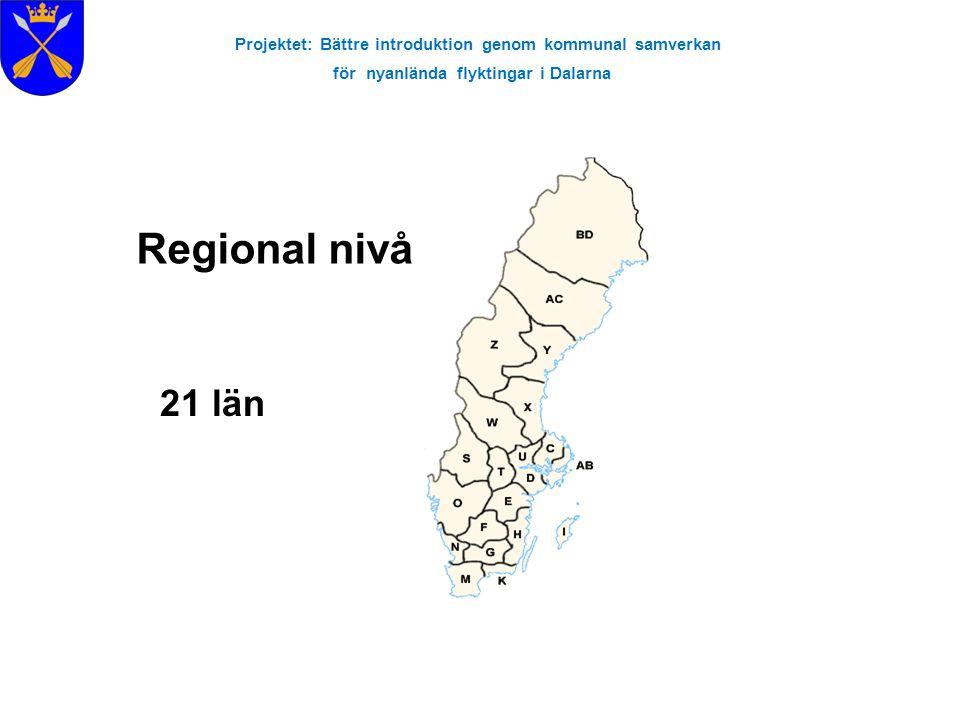 Projektet: Bättre introduktion genom kommunal samverkan för nyanlända flyktingar i Dalarna Regional nivå 21 län