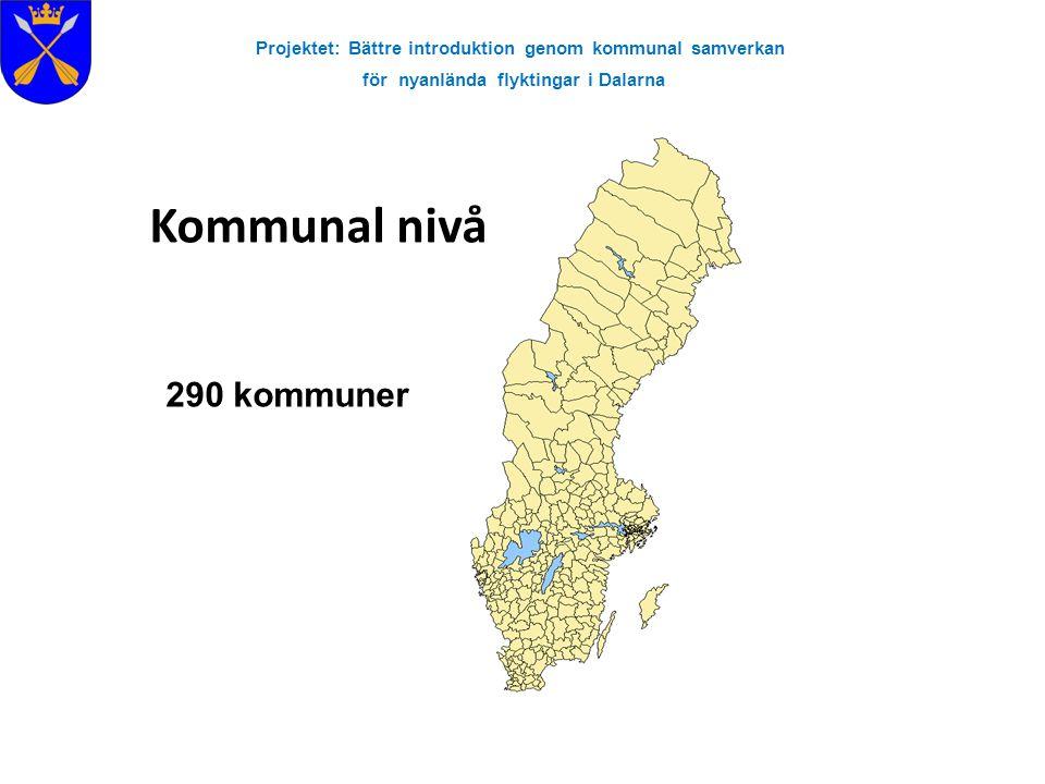Projektet: Bättre introduktion genom kommunal samverkan för nyanlända flyktingar i Dalarna Kommunal nivå 290 kommuner