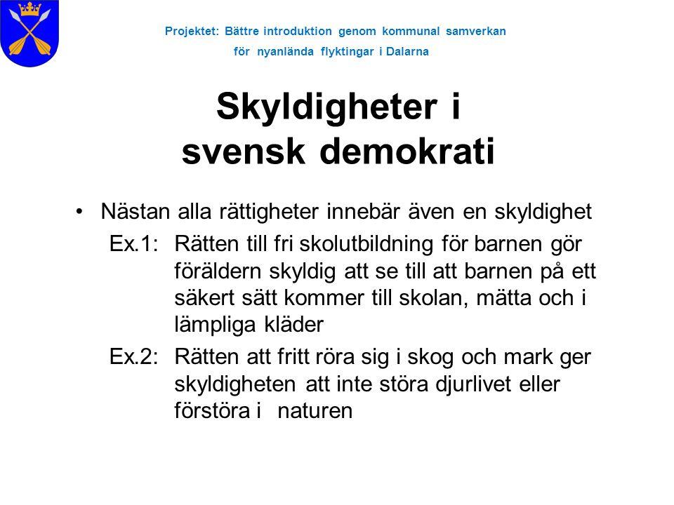 Projektet: Bättre introduktion genom kommunal samverkan för nyanlända flyktingar i Dalarna Skyldigheter i svensk demokrati Nästan alla rättigheter inn