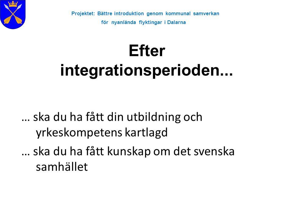 Projektet: Bättre introduktion genom kommunal samverkan för nyanlända flyktingar i Dalarna Efter integrationsperioden... … ska du ha fått din utbildni