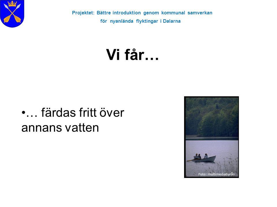 Projektet: Bättre introduktion genom kommunal samverkan för nyanlända flyktingar i Dalarna Foto: multimediabyrån … färdas fritt över annans vatten Vi