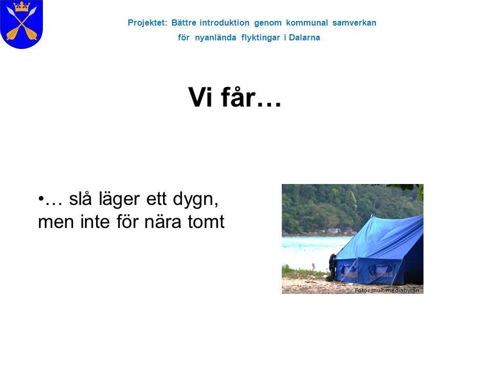 Projektet: Bättre introduktion genom kommunal samverkan för nyanlända flyktingar i Dalarna Vi får… Foto: multimediabyrån … slå läger ett dygn, men int