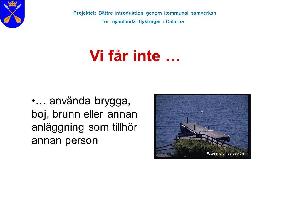 Projektet: Bättre introduktion genom kommunal samverkan för nyanlända flyktingar i Dalarna Vi får inte … Foto: multimediabyrån … använda brygga, boj,