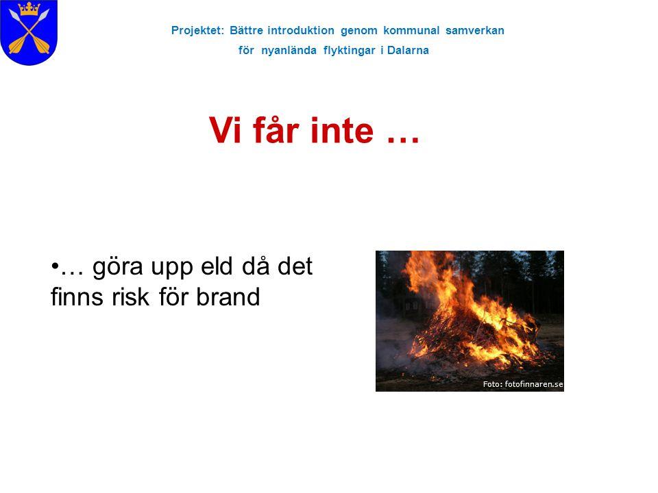 Projektet: Bättre introduktion genom kommunal samverkan för nyanlända flyktingar i Dalarna Vi får inte … Foto: fotofinnaren.se … göra upp eld då det f
