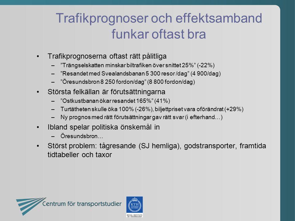 """Trafikprognoser och effektsamband funkar oftast bra Trafikprognoserna oftast rätt pålitliga –""""Trängselskatten minskar biltrafiken över snittet 25%"""" (-"""