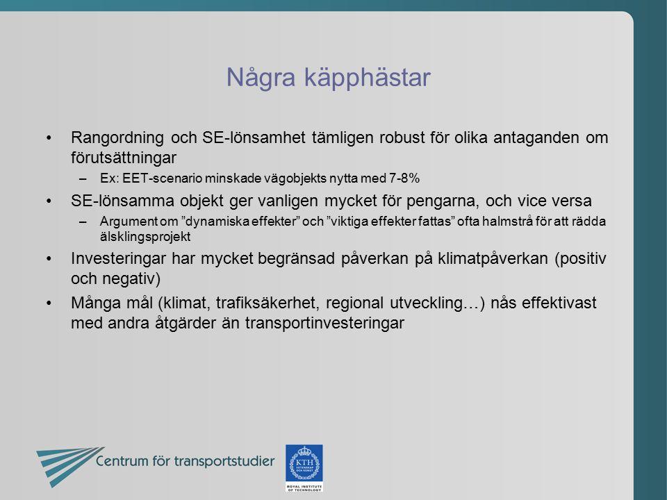 Några käpphästar Rangordning och SE-lönsamhet tämligen robust för olika antaganden om förutsättningar –Ex: EET-scenario minskade vägobjekts nytta med
