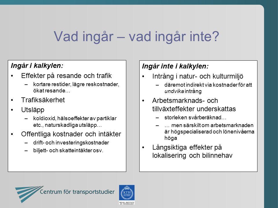 Vad ingår – vad ingår inte? Ingår i kalkylen: Effekter på resande och trafik –kortare restider, lägre reskostnader, ökat resande… Trafiksäkerhet Utslä