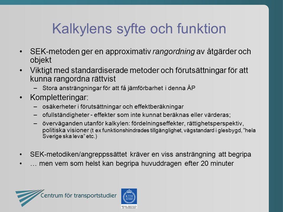 Kalkylens syfte och funktion SEK-metoden ger en approximativ rangordning av åtgärder och objekt Viktigt med standardiserade metoder och förutsättninga