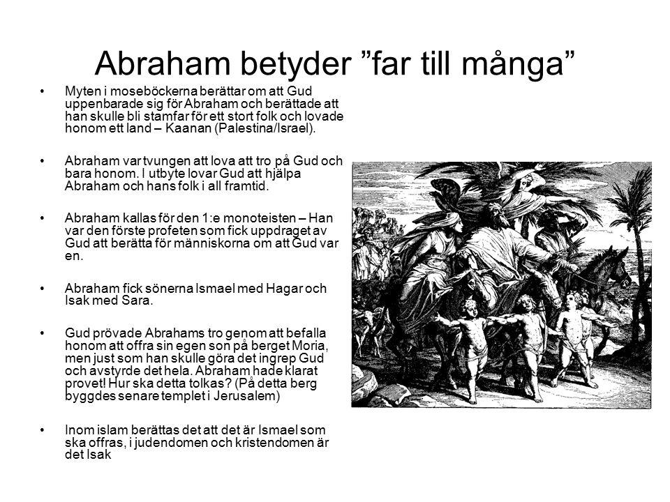 Abraham betyder far till många Myten i moseböckerna berättar om att Gud uppenbarade sig för Abraham och berättade att han skulle bli stamfar för ett stort folk och lovade honom ett land – Kaanan (Palestina/Israel).