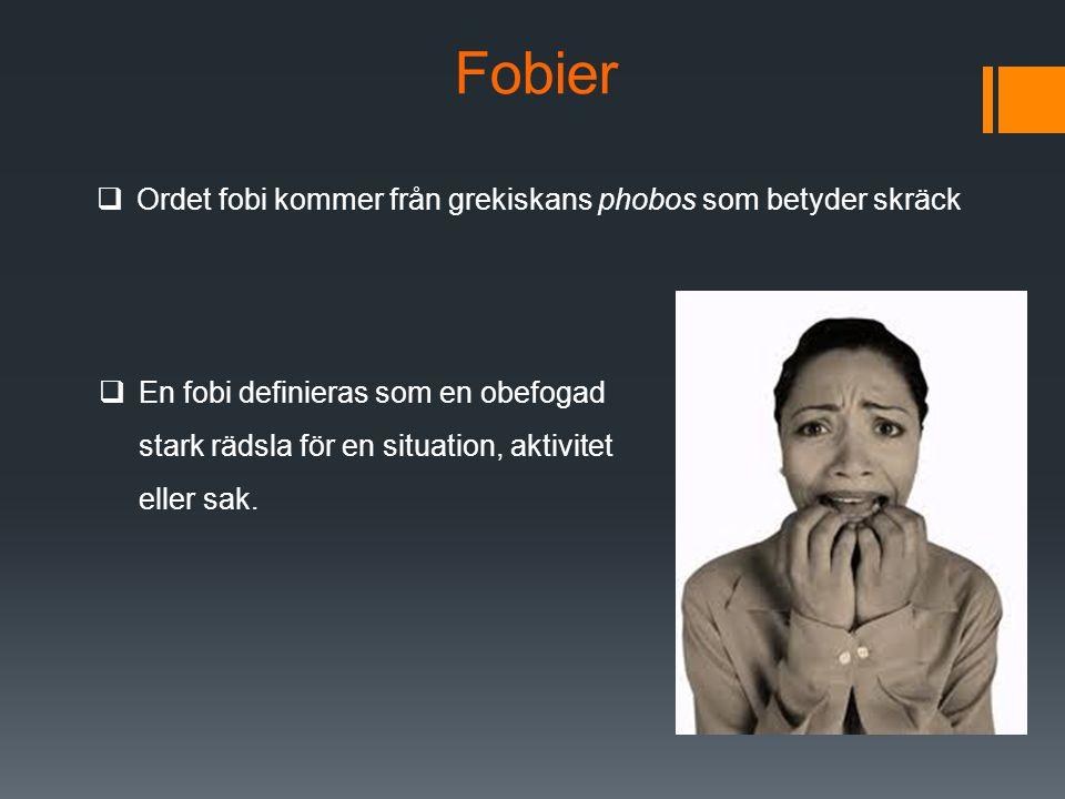 Fobier  Ordet fobi kommer från grekiskans phobos som betyder skräck  En fobi definieras som en obefogad stark rädsla för en situation, aktivitet eller sak.