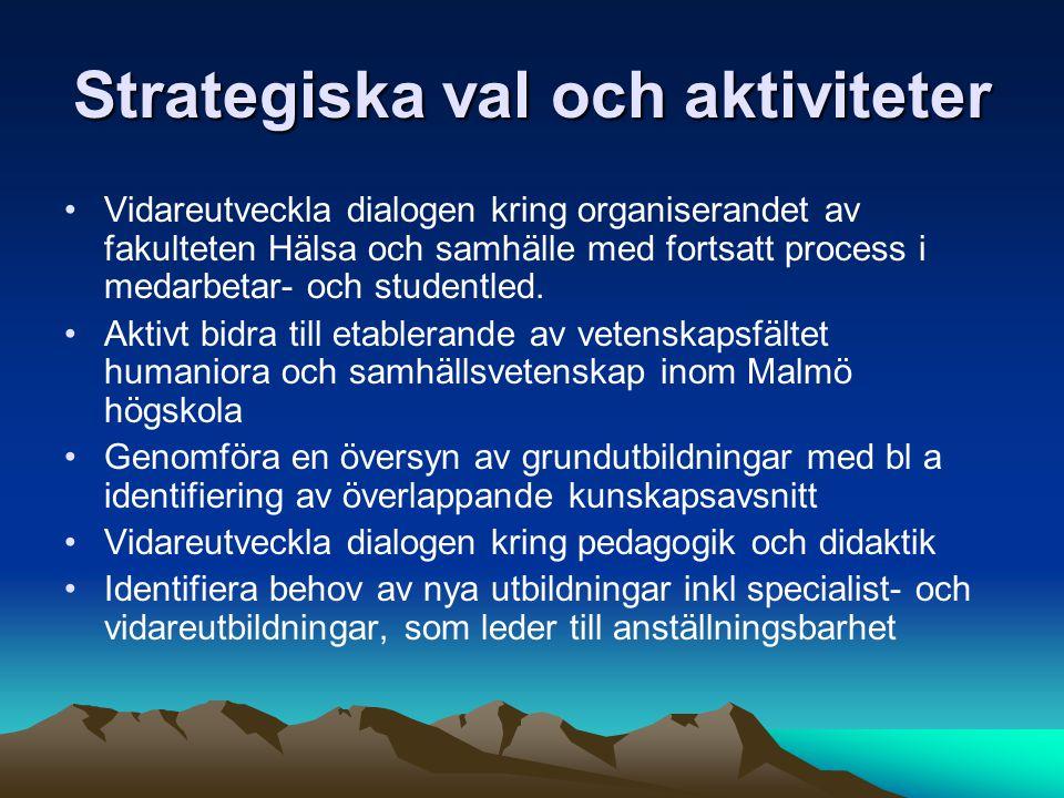 Strategiska val och aktiviteter Vidareutveckla dialogen kring organiserandet av fakulteten Hälsa och samhälle med fortsatt process i medarbetar- och studentled.
