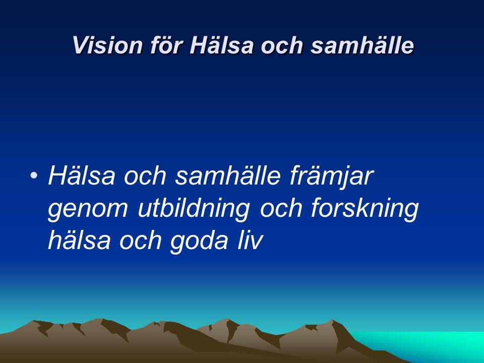Vision för Hälsa och samhälle Hälsa och samhälle främjar genom utbildning och forskning hälsa och goda liv