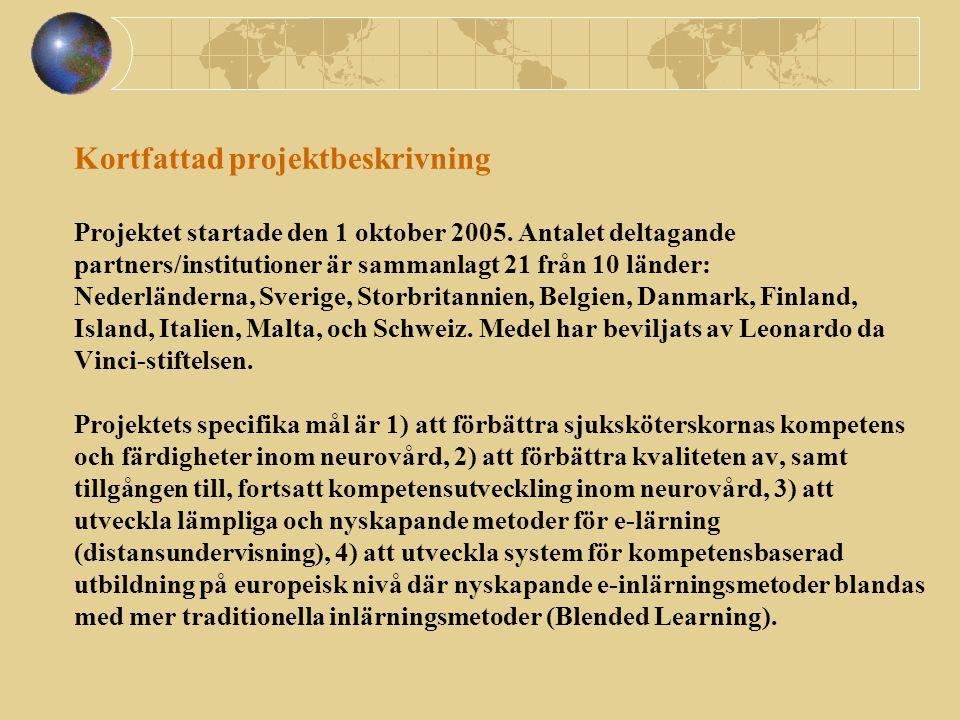 Kortfattad projektbeskrivning Projektet startade den 1 oktober 2005. Antalet deltagande partners/institutioner är sammanlagt 21 från 10 länder: Nederl
