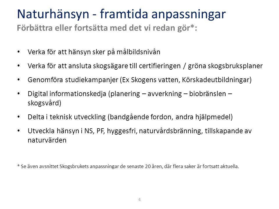 4 Verka för att hänsyn sker på målbildsnivån Verka för att ansluta skogsägare till certifieringen / gröna skogsbruksplaner Genomföra studiekampanjer (Ex Skogens vatten, Körskadeutbildningar) Digital informationskedja (planering – avverkning – biobränslen – skogsvård) Delta i teknisk utveckling (bandgående fordon, andra hjälpmedel) Utveckla hänsyn i NS, PF, hyggesfri, naturvårdsbränning, tillskapande av naturvärden * Se även avsnittet Skogsbrukets anpassningar de senaste 20 åren, där flera saker är fortsatt aktuella.