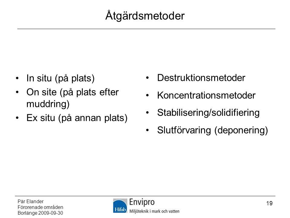 Pär Elander Förorenade områden Borlänge 2009-09-30 19 Åtgärdsmetoder In situ (på plats) On site (på plats efter muddring) Ex situ (på annan plats) Des