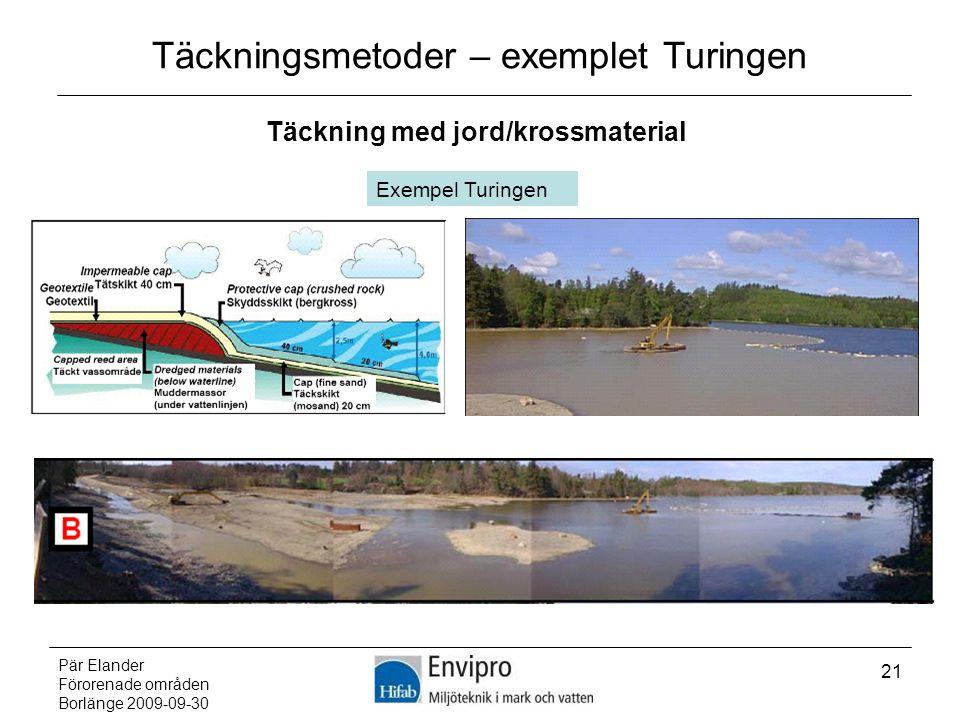 Pär Elander Förorenade områden Borlänge 2009-09-30 21 Täckningsmetoder – exemplet Turingen Täckning med jord/krossmaterial Exempel Turingen