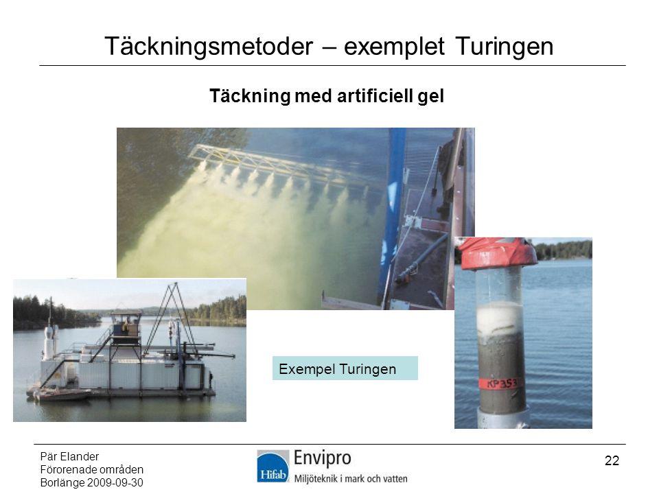 Pär Elander Förorenade områden Borlänge 2009-09-30 22 Täckningsmetoder – exemplet Turingen Täckning med artificiell gel Exempel Turingen
