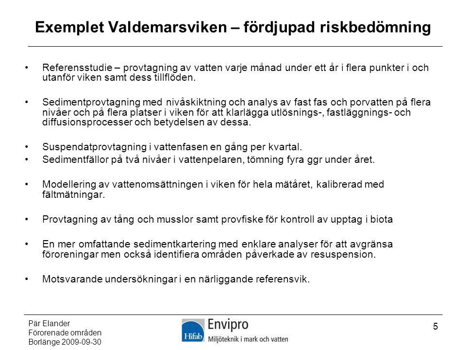 Pär Elander Förorenade områden Borlänge 2009-09-30 5 Exemplet Valdemarsviken – fördjupad riskbedömning Referensstudie – provtagning av vatten varje må