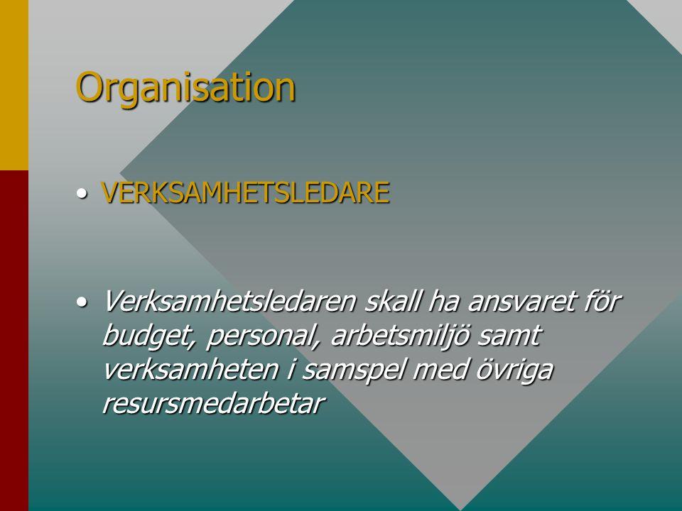 Organisation VERKSAMHETSLEDAREVERKSAMHETSLEDARE Verksamhetsledaren skall ha ansvaret för budget, personal, arbetsmiljö samt verksamheten i samspel med övriga resursmedarbetarVerksamhetsledaren skall ha ansvaret för budget, personal, arbetsmiljö samt verksamheten i samspel med övriga resursmedarbetar