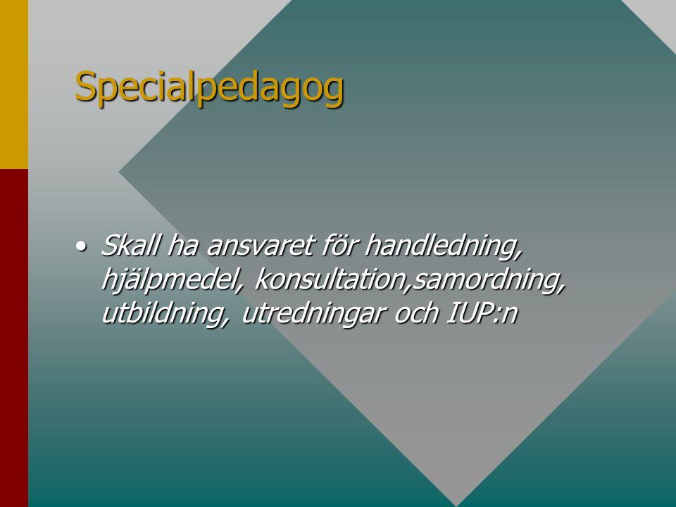Specialpedagog Skall ha ansvaret för handledning, hjälpmedel, konsultation,samordning, utbildning, utredningar och IUP:nSkall ha ansvaret för handledning, hjälpmedel, konsultation,samordning, utbildning, utredningar och IUP:n