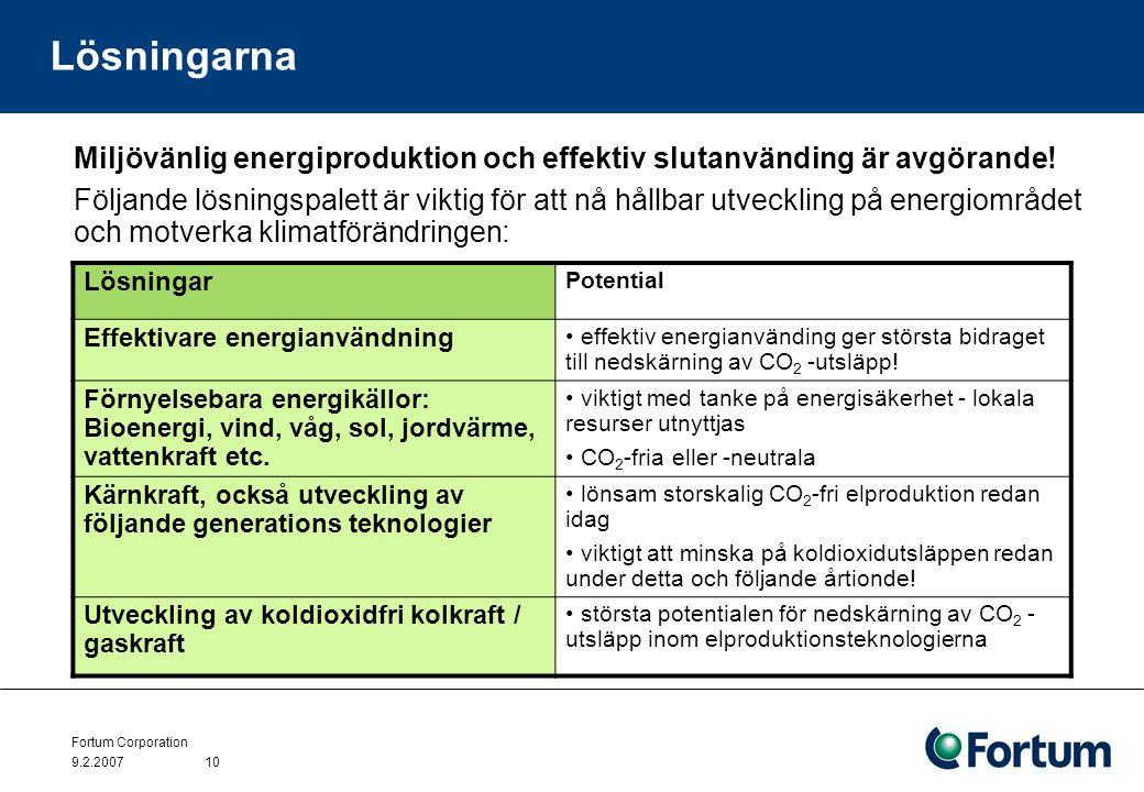 Fortum Corporation 9.2.200710 Lösningarna Miljövänlig energiproduktion och effektiv slutanvänding är avgörande! Följande lösningspalett är viktig för