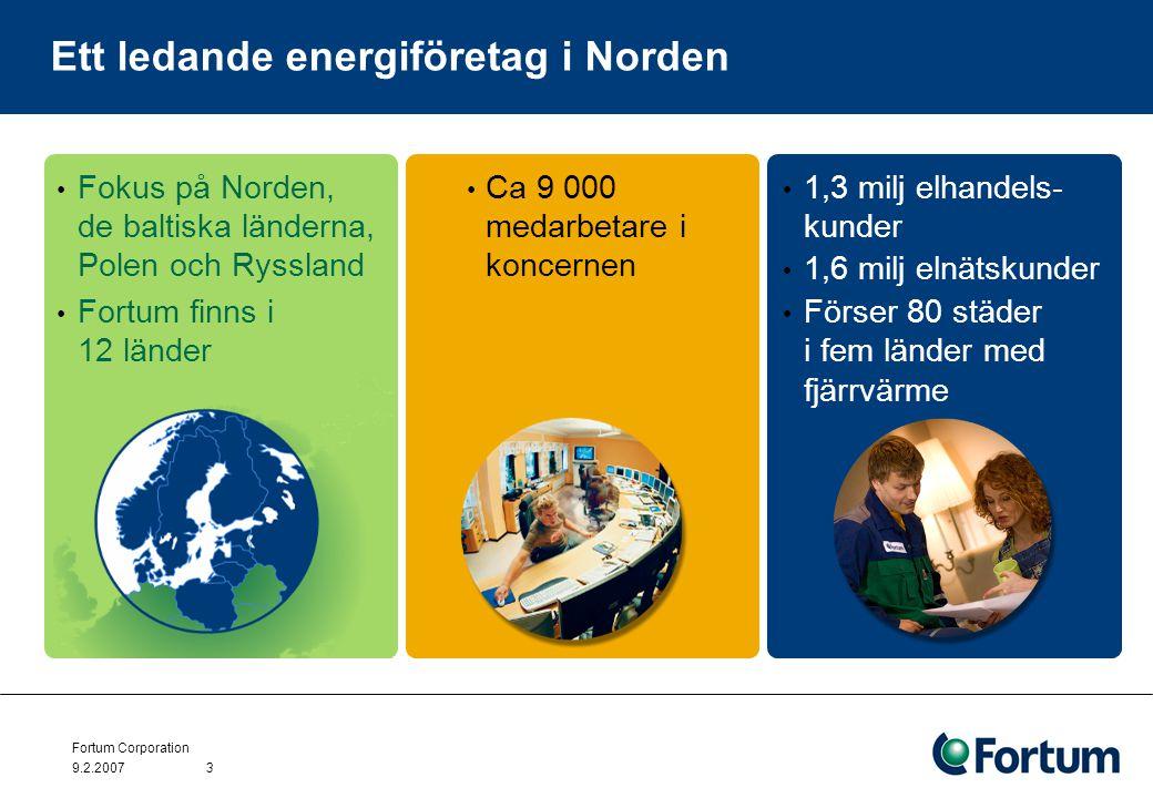 Fortum Corporation 9.2.20073 Ett ledande energiföretag i Norden Fokus på Norden, de baltiska länderna, Polen och Ryssland Fortum finns i 12 länder Ca 9 000 medarbetare i koncernen 1,3 milj elhandels- kunder 1,6 milj elnätskunder Förser 80 städer i fem länder med fjärrvärme