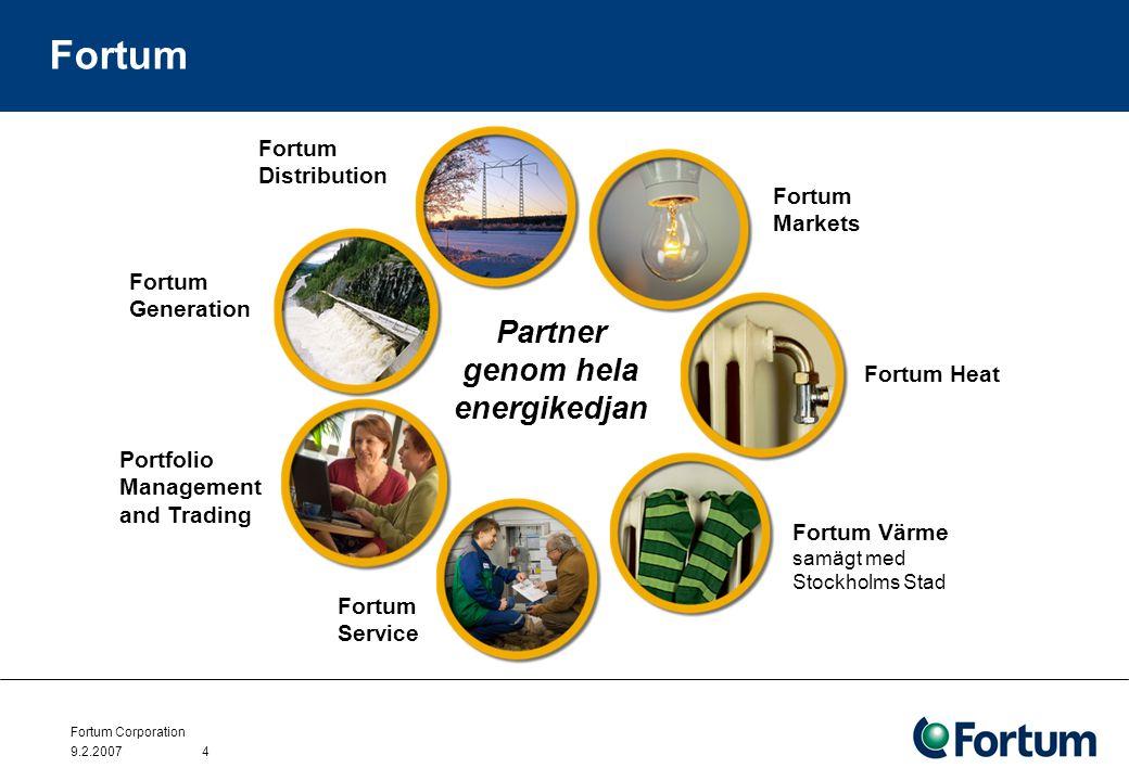 Fortum Corporation 9.2.20074 Fortum Fortum Generation Fortum Distribution Fortum Markets Fortum Värme samägt med Stockholms Stad Fortum Service Portfolio Management and Trading Partner genom hela energikedjan Fortum Heat