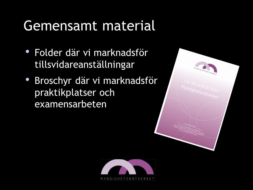 Gemensamt material Folder där vi marknadsför tillsvidareanställningar Broschyr där vi marknadsför praktikplatser och examensarbeten