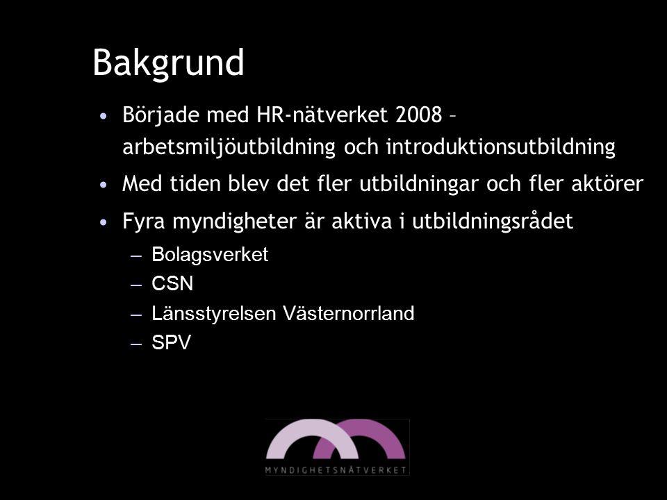 Bakgrund Började med HR-nätverket 2008 – arbetsmiljöutbildning och introduktionsutbildning Med tiden blev det fler utbildningar och fler aktörer Fyra