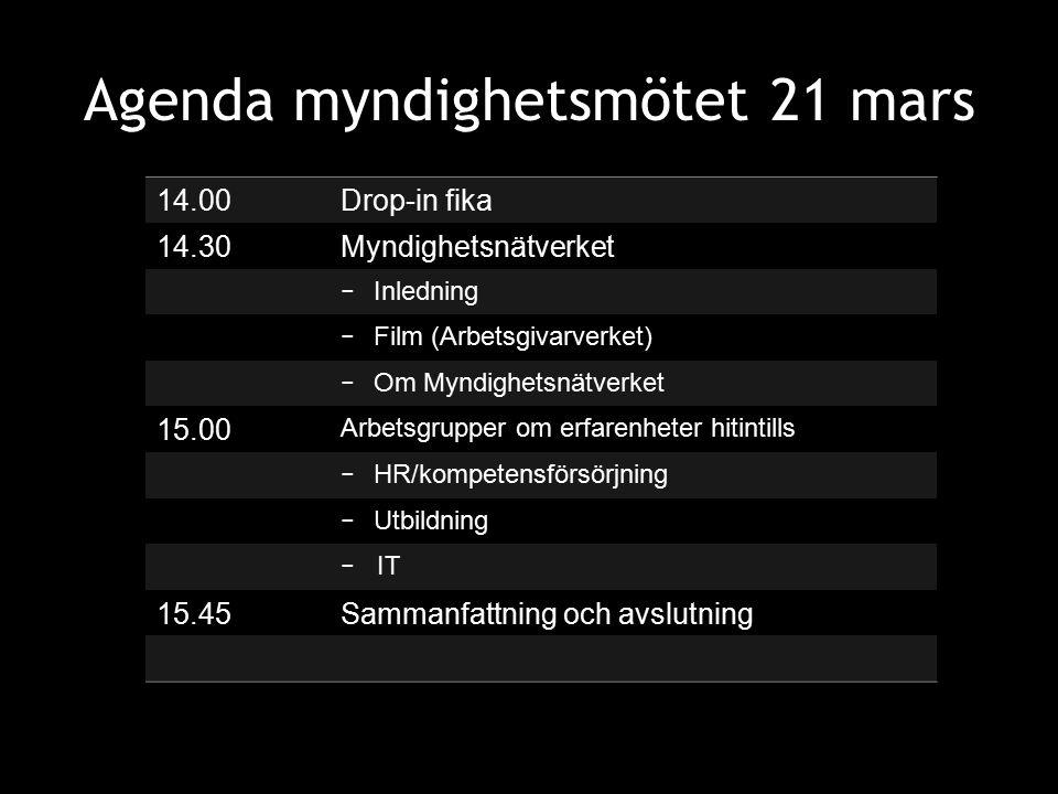 Agenda myndighetsmötet 21 mars 14.00Drop-in fika 14.30Myndighetsnätverket − Inledning − Film (Arbetsgivarverket) − Om Myndighetsnätverket 15.00 Arbets
