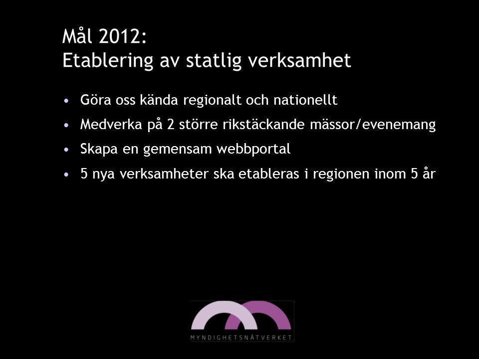 Mål 2012: Etablering av statlig verksamhet Göra oss kända regionalt och nationellt Medverka på 2 större rikstäckande mässor/evenemang Skapa en gemensa