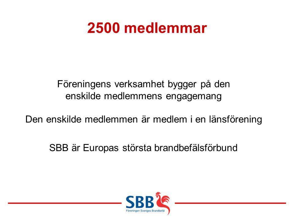 2500 medlemmar Föreningens verksamhet bygger på den enskilde medlemmens engagemang Den enskilde medlemmen är medlem i en länsförening SBB är Europas s