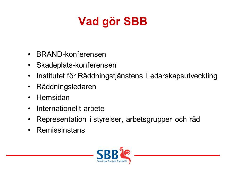 Vad gör SBB BRAND-konferensen Skadeplats-konferensen Institutet för Räddningstjänstens Ledarskapsutveckling Räddningsledaren Hemsidan Internationellt