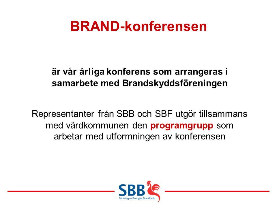 BRAND-konferensen är vår årliga konferens som arrangeras i samarbete med Brandskyddsföreningen Representanter från SBB och SBF utgör tillsammans med v