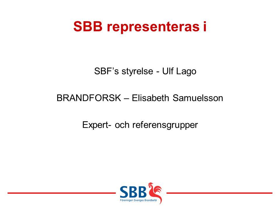 SBB representeras i SBF's styrelse - Ulf Lago BRANDFORSK – Elisabeth Samuelsson Expert- och referensgrupper