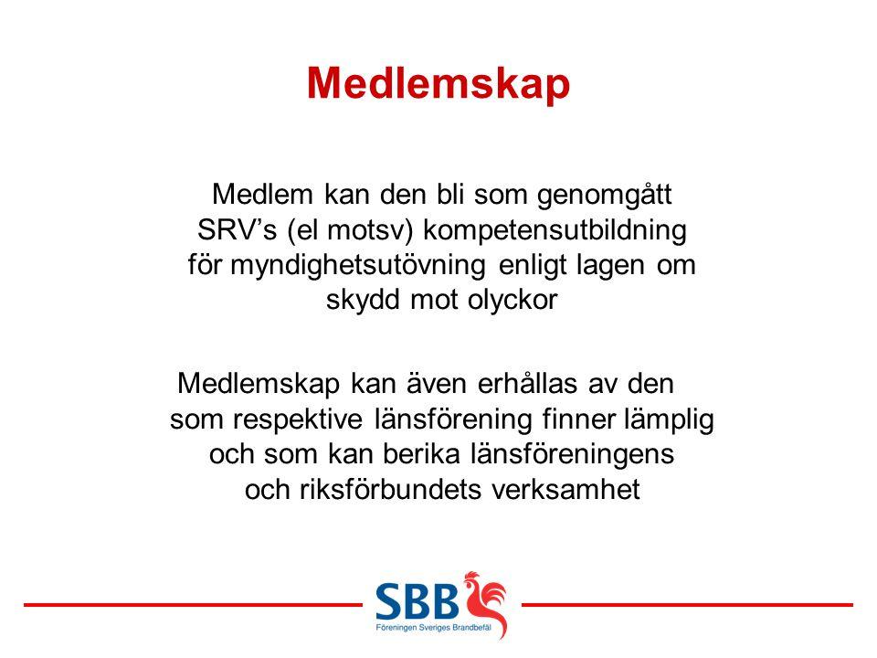 Medlemskap Medlem kan den bli som genomgått SRV's (el motsv) kompetensutbildning för myndighetsutövning enligt lagen om skydd mot olyckor Medlemskap k