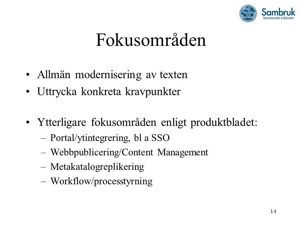 14 Fokusområden Allmän modernisering av texten Uttrycka konkreta kravpunkter Ytterligare fokusområden enligt produktbladet: –Portal/ytintegrering, bl