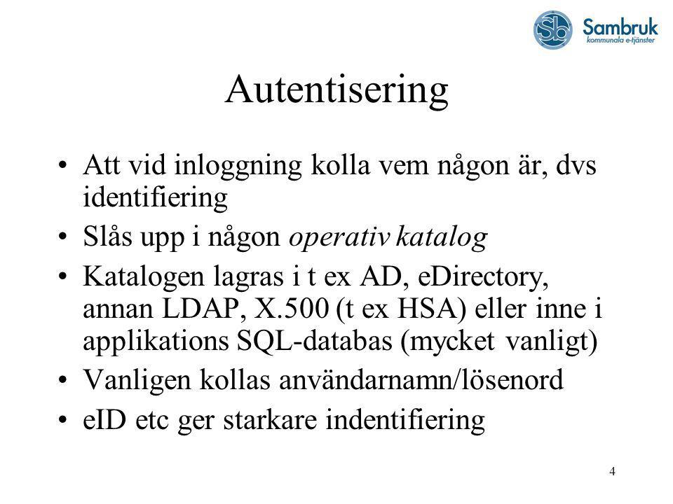 4 Autentisering Att vid inloggning kolla vem någon är, dvs identifiering Slås upp i någon operativ katalog Katalogen lagras i t ex AD, eDirectory, annan LDAP, X.500 (t ex HSA) eller inne i applikations SQL-databas (mycket vanligt) Vanligen kollas användarnamn/lösenord eID etc ger starkare indentifiering