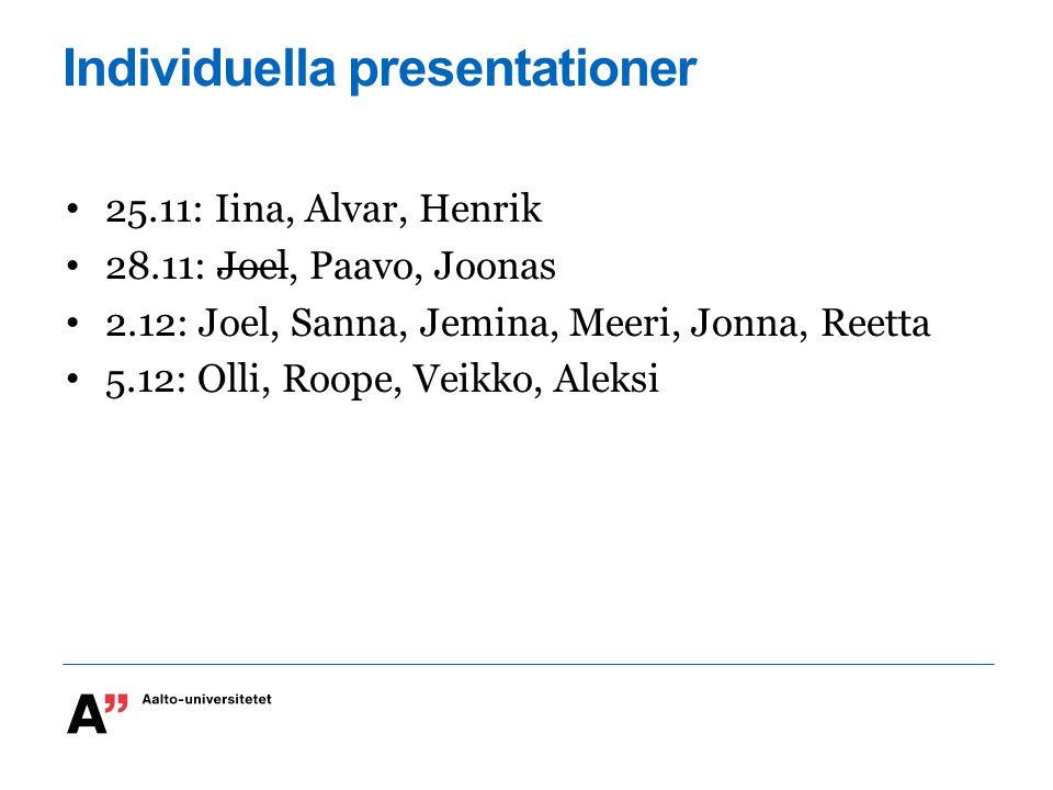 Individuella presentationer 25.11: Iina, Alvar, Henrik 28.11: Joel, Paavo, Joonas 2.12: Joel, Sanna, Jemina, Meeri, Jonna, Reetta 5.12: Olli, Roope, Veikko, Aleksi